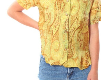 Medium Large Yellow 1950s 1960s Paisley Shirt 4CC