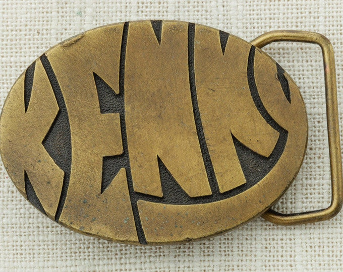 Kenny Belt Buckle Name 70s Psychadelic 1970s Font Humphreys Leather Goods Inc Small Vintage Belt Buckle 16B
