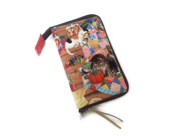 Kittens in the Craft Room Stitch Marker, Progress Keeper, Zipper Pull or Charm Zip Around Travel Organizer S313