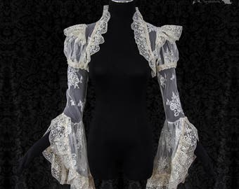 Lace wedding cover, ivory shrug, cottage chic, Victorian, bolero, Somnia Romantica, approx size small see item details for measurements