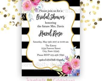 Bridal Shower Invitation, Baby Shower Invitation, Graduation Invitation, Birthday Invite, Watercolor Flower Invite, Black white stripe