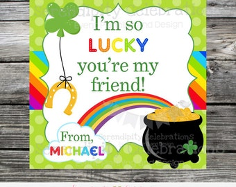 St Patrick's Day Favor Tags, St Patrick's Day Stickers, St Patty's Day Tags, Rainbow, Pot of Gold, Kids St Patrick's Day favor tags, Clover