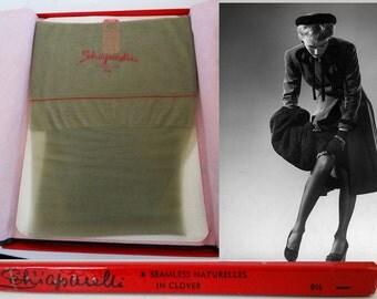 "Vintage Stockings//Nylons//Hosiery//Schiaparelli//Original Box// Designer//3 Pair//Pinup//Size 9 & 12""//NOS"