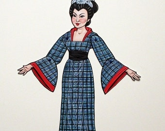 Wu Zetian Ancient Chinese Emperor Empress Queen Articulated Paper Doll