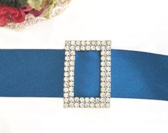Rhinestone Buckle / Bridal Accessory / Vintage Wedding Glam / 1940s Bling / Rectangle / Two Rows / Faux Diamonds Sparkle / Large Scarf Slide