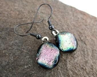 Dichroic Dangle Earrings Black Shimmer Fused Glass