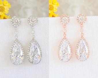Rose Gold Wedding Earrings, Crystal Bridal Earrings, Round Halo Stud Earrings, Teardrop Dangle Earrings, Vintage Style Bridal Jewelry, SARAH