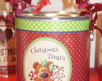 Christmas  Gallon Keepsake Can,Christmas Treat Can,Christmas Host,Doggie Treat Can, Christmas Keepsake Can, Personalized Christmas Gift Set.