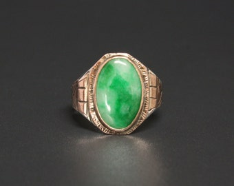 Art Deco Jade Ring Rose Gold Inlay & Sterling Size 11.5 Glassy, Tight Surface Jade