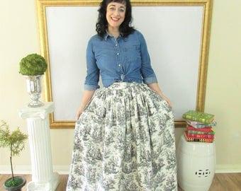 Black and White Toile Midi Skirt, Mini Skirt or Maxi Ball skirt  full, gathered skirt all sizes custom made to order