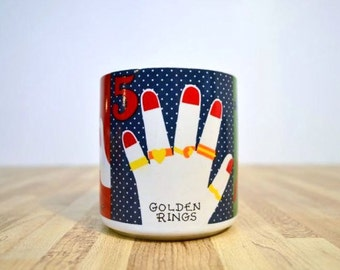 Replacement Vintage Primary Colors Twelve Days of Christmas Grant Howard 1983 Coffee Mug 4 Calling Birds 5 Golden Rings 6 Geese a Laying