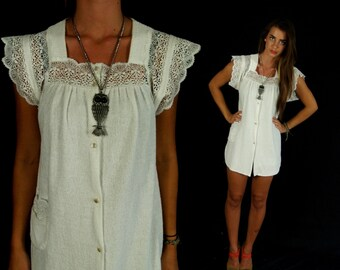 vtg 70s white LACE beach TERRYCLOTH TUNIC Small hippie boho sheer shirt top hippie festival cover up summer