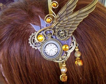 Fascinator (F619),  Clockwork Design, Brass Wings and Gears, Mini Faux Pocket Watch, Swarovski Crystals and Dangles, Copper Bronze Clockface