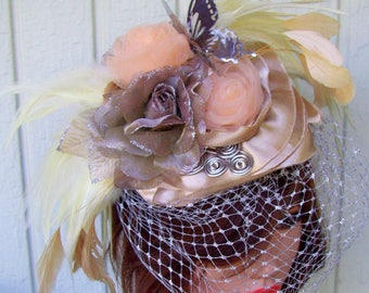 Fascinator (F713) Champagne, Cream and Peach Colors, Kentucky Derby, Races Mini Hat, Wedding, Blusher Netting, Butterfly