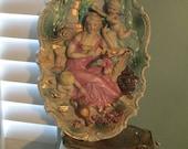 1940s Cherubs Angels Bisque Porcelain Wall Hanging / Victorian 3D Goddess Angels