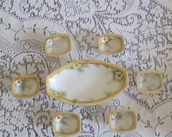 Antique 1900s Vegetable Relish Dish Set 6 Salt Cellars Condiments Set Porcelain Painted