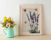 Spring Sale Wall art home decor Bees with Lavender flowers Dictionary art poster print Wall decor bees insect art gift BPBB117