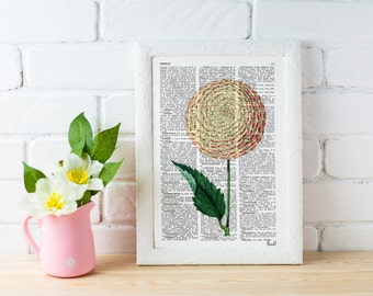 Summer Sale Dalia Flower book print - Book print page - Upcycled book page flower bosque nature art  BFL051