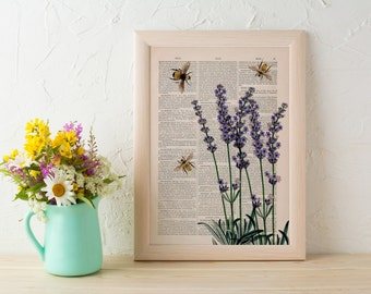 Summer Sale Wall art home decor Bees with Lavender flowers Dictionary art poster print Wall decor bees insect art gift BFL117
