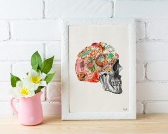 Minerals Skull Human anatomy collage .Stones and minerals, Anatomical Skull print Wall decor art Chic home decor, WP219