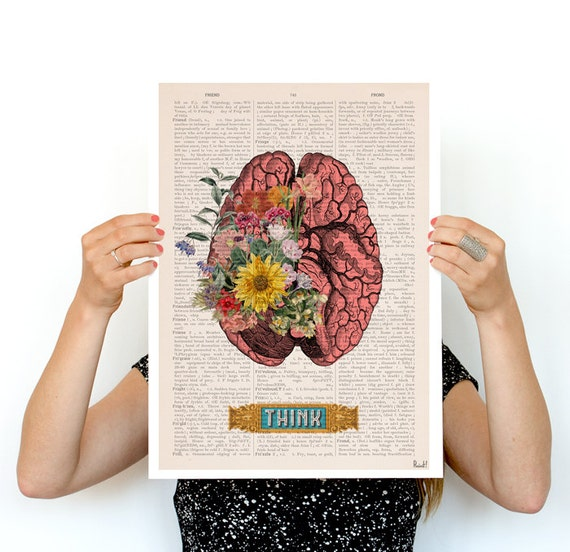 Think, Colorful Brain Poster, anatomical art, Brain art,flower art, Human Brain poster doctor gifts wall art, SKA131PA3