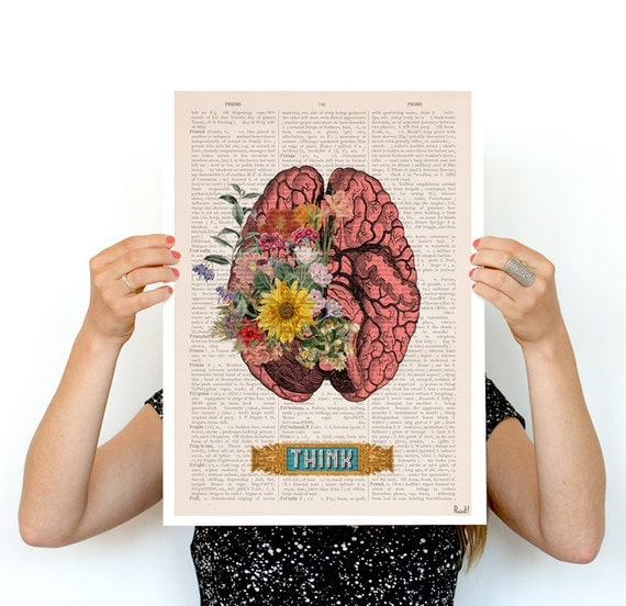 Think, Colorful Brain Poster, anatomical art, Brain art,flower art, Human Brain poster doctor gifts SKA131PA3