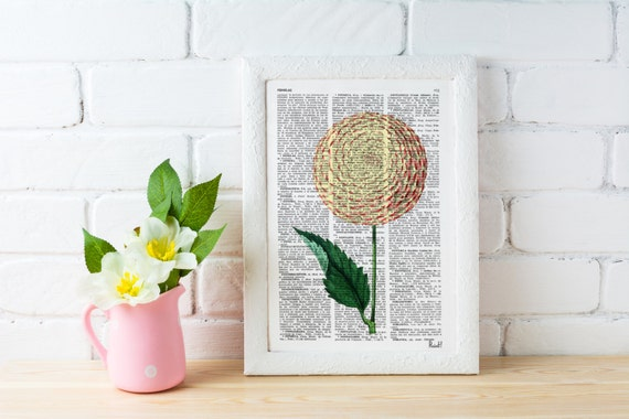 Dalia Flower book print - Book print page - Upcycled book page flower bosque nature art  BFL051