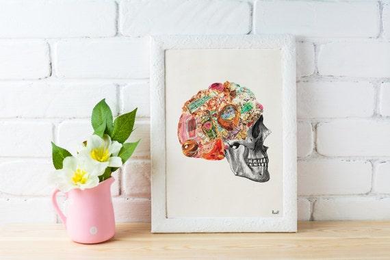 Minerals Skull Human anatomy collage .Stones and minerals, Anatomical Skull print Wall decor art Chic home decor, SKA119WA4