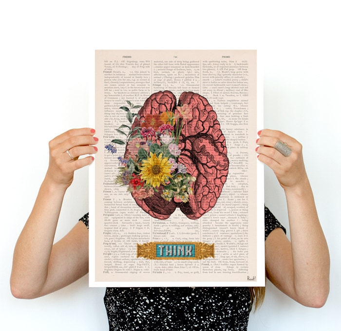 think colorful brain poster anatomical art brain art