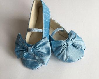 Flower Girl Toddler Shoe, Girls Mary Jane Silk Med Blue Shoe, Baby Ballet Slipper, Little Girl Ballet Flat, Spring Wedding Shoe, Baby Souls