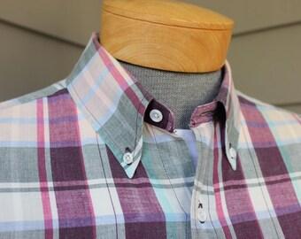 vintage 1980's -ENRO 'Mercedes'- Men's short sleeve shirt. Hand Woven Madras - All Cotton.  Button down collar w/ locker loop. Large