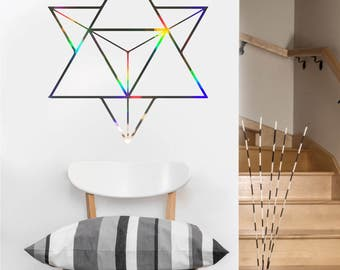 Tetrahedron Decal | Vinyl Wall DECAL | Sacred Geometry | Rainbow Holographic