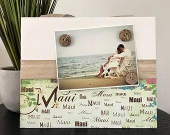 Maui Hawaii Beach Picture Frame Magnetic Gift Home Decor Photo Honeymoon Wedding gift Hawaiian Nautical Beachy 5 x 7 9 x 11 -Maui Hawaii