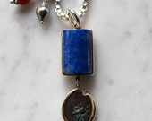 Sterling Silver & 14k pendant with Lapis Lazuli, ancient Judean coin, diamond, coral and keshi pearl- 21 in.sterling chain w/ handmade clasp