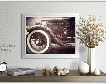 Whitewalls, Antique Car Photography, 5x7 + More, Prints, Whitewall Tires, Automobile, Wheels, Spokes, Old Cars Wall Art, Home Decor