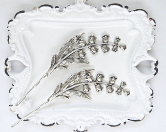 Art Nouveau Hair Pins, Scrolling Flowers, Floral Hair Pins, Silver Ox Brass, Silver Lily Hair Pins, Lily of the Valley Hair Pins SNOWDROP