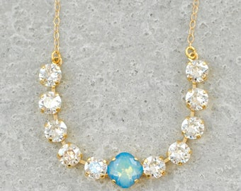 Silver Blue Bridesmaids Necklace Swarovski Crystal Silver Shade White Opal Star Shine Tennis Bar Rhinestone Necklace Opal Crystal Necklace