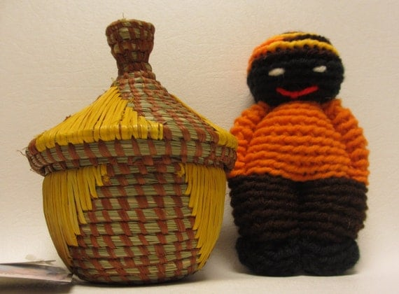 small african handmade woven basket with lid and comfort doll. Black Bedroom Furniture Sets. Home Design Ideas