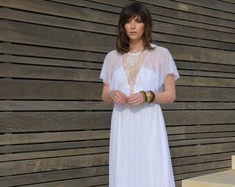 Boho Llace wedding dress, bohemian wedding dress, Dotted tulle wedding dress, lace wedding dress