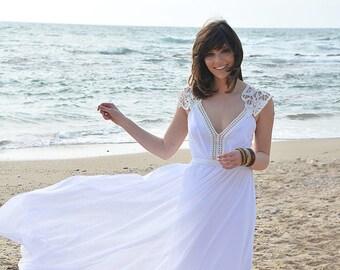 Boho wedding dress, embroidery collar, open back wedding dress
