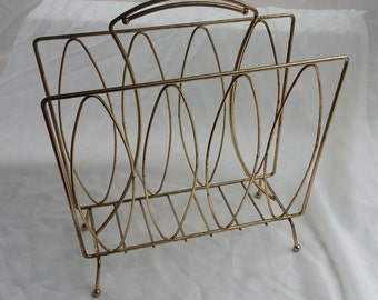 Wire Handled Mid Century Magazine Rack