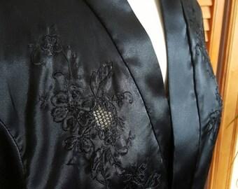 Pure Silk Black Robe with Sash