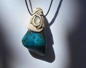 Shattuckite Pendant & Moonstone / shattuckite jewelry / jewelry / pendant  / AWARENESS CRYSTAL / khayanite / bright blues / glowing / tribal