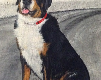 Swiss mountain dog painting from photo custom pet portrait on canvas hand painted
