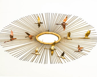 Mid-Century Brass Sunburst Wall Sculpture - Curtis Jere