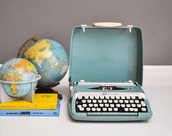 Mid-Century Turquoise Smith Corona Corsair Typewriter with Case