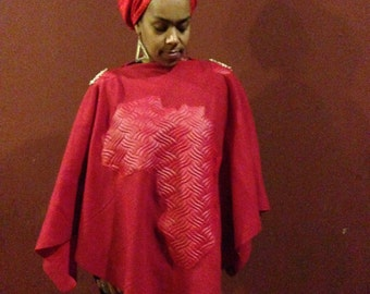 FIYAH RED Africa Poncho