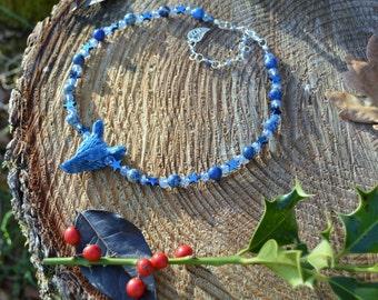 Blue wolf necklace, Jasper Lapis Lazuli necklace, witchy sea goddess, semi precious star wolf jewelry, gaia pagan necklace, mermaid jewelry