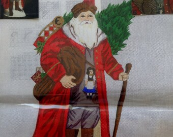 Rare Joan Thomasson COLONIAL Standing SANTA CLAUS Handpainted Needlepoint Canvas Hand Painted