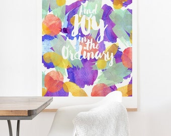 Joy in the Ordinary ready-to-hang large oversized print , housewarming gift new house decor , purple mint yellow red watercolor wall decor